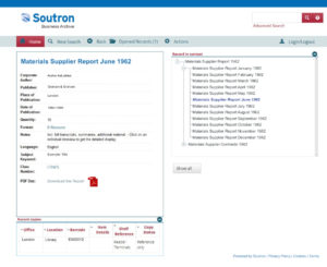 Screenshot of Soutron Business Archive Software